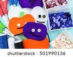halloween felt hand made...   Shutterstock . vector #501990136