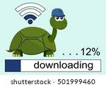 cartoon turtle wearing a helmet.... | Shutterstock .eps vector #501999460