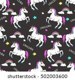 unicorns seamless pattern.... | Shutterstock .eps vector #502003600