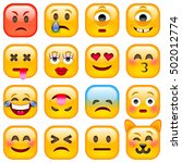 set of square smile emoticons.... | Shutterstock .eps vector #502012774