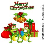 Frogs Celebrating Christmas
