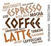 creative coffee word cloud on... | Shutterstock .eps vector #502017364