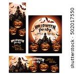 halloween party banner ad... | Shutterstock .eps vector #502017550