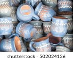 colorful ceramic pottery on... | Shutterstock . vector #502024126