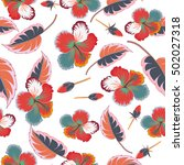 pretty multicolored floral... | Shutterstock .eps vector #502027318