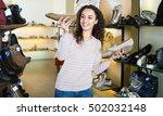 joyful smiling brunette girl... | Shutterstock . vector #502032148