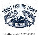vintage salmon fishing emblem | Shutterstock .eps vector #502040458