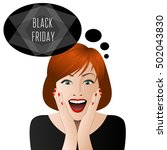 surprised woman in black friday ... | Shutterstock .eps vector #502043830