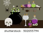 witches kitchen cooking scene | Shutterstock . vector #502055794