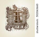 vintage window sketch. vector... | Shutterstock .eps vector #502063660