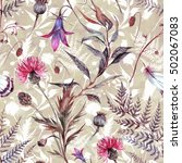 watercolor seamless floral... | Shutterstock . vector #502067083