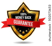 100  money back guarantee label | Shutterstock .eps vector #502073653