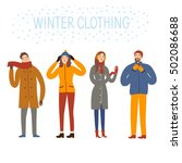 set of  cartoon people wearing... | Shutterstock .eps vector #502086688
