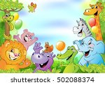 cartoon animals  cheerful...