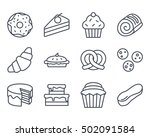 bakery set icon food outlined | Shutterstock .eps vector #502091584