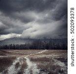 dark gloomy landscape with... | Shutterstock . vector #502093378