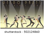 five dancing couples. retro... | Shutterstock .eps vector #502124860