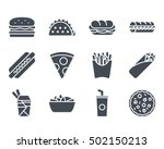 fast food icon set solid... | Shutterstock .eps vector #502150213