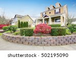 american house exterior with... | Shutterstock . vector #502195090