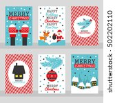 set of six merry christmas... | Shutterstock .eps vector #502202110