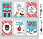 set of six merry christmas... | Shutterstock .eps vector #502202110