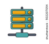 isolated device and data base... | Shutterstock .eps vector #502207054