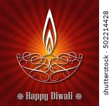 decorative glowing diwali lamp... | Shutterstock .eps vector #502214428