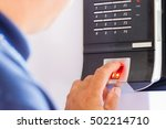electronic key and finger... | Shutterstock . vector #502214710