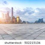 empty floor and modern city...   Shutterstock . vector #502215136