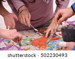 colorful glass mosaic on table... | Shutterstock . vector #502230493