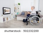 grandmother on wheelchair... | Shutterstock . vector #502232200