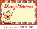 christmas card with happy young ... | Shutterstock .eps vector #502241188