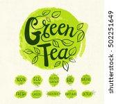 green tea logo  lettering... | Shutterstock .eps vector #502251649