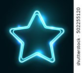 Blue Abstract Neon Star Shape....