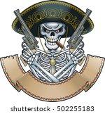 mexican skull with sombrero ... | Shutterstock .eps vector #502255183