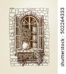 window with wooden shutters.... | Shutterstock .eps vector #502264333
