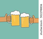 two hands holding beer glasses | Shutterstock .eps vector #502298836