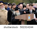 Small photo of Orel, Russia - October 14, 2016: Ivan the Terrible monument opening ceremony. Starets Iliya talking from tribune