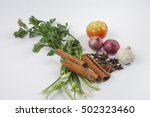 soup leaves onions and herbs... | Shutterstock . vector #502323460