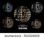 set of abstract striped spheres.... | Shutterstock .eps vector #502334020