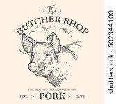 pig head  fresh pork organic... | Shutterstock .eps vector #502344100