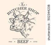 cow head  fresh beef organic... | Shutterstock .eps vector #502344238