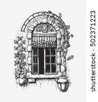 open window sketch. vintage... | Shutterstock .eps vector #502371223