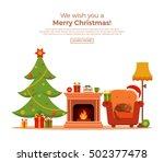 christmas fireplace room... | Shutterstock .eps vector #502377478