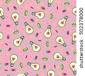 seamless pattern with fashion... | Shutterstock .eps vector #502378000