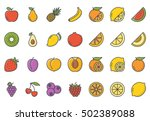 fruits icon set colored | Shutterstock .eps vector #502389088