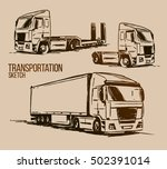 semi trailer truck sketch | Shutterstock .eps vector #502391014