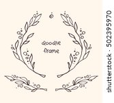 hand drawn vector doodle floral ... | Shutterstock .eps vector #502395970