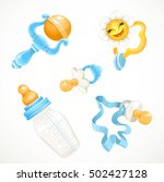 set of blue items for the baby... | Shutterstock .eps vector #502427128