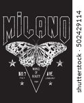 vintage milano butterfly rock... | Shutterstock .eps vector #502429114